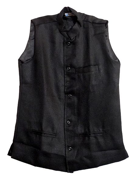 Mens Black Sleeveless Jacket