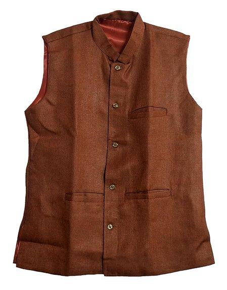 Mens Dark Brown Sleeveless Jacket