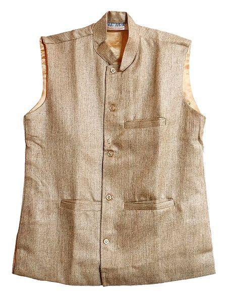 Mens Light Beige Sleeveless Jacket