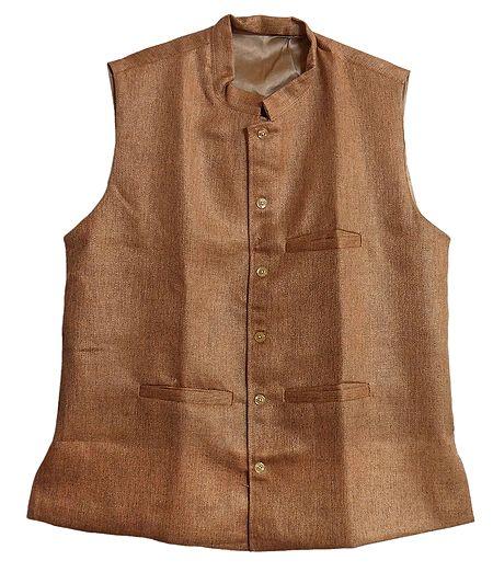 Mens Light Brown Sleeveless Jacket