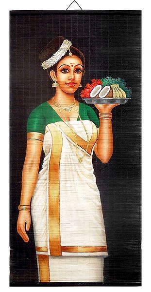 Lady with Puja Thali - Painting on Woven Bamboo Strands - Wall Hanging
