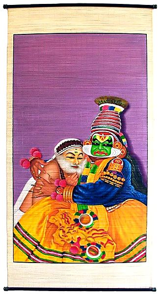 Kathakali Dancers as Krishna and Sudama - Painting on Woven Bamboo Strands - Wall Hanging