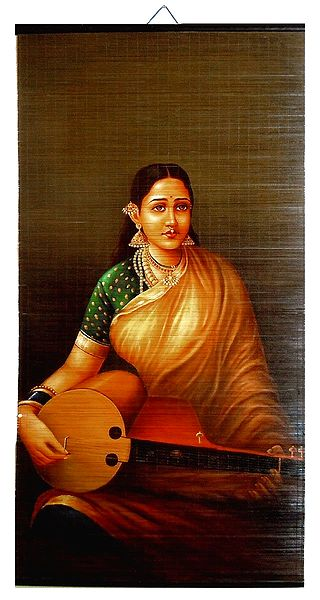 Veena Vadini - Ravi Varma Painting on Bamboo Strands - Wall Hanging