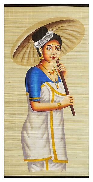 A Malayalee Lady in a Traditional Dress Holding Bamboo Umbrella - Wall Hanging