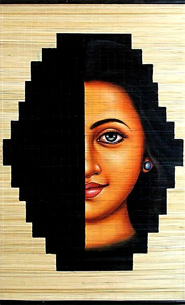 Womanhood - A Mystery - Painting on Woven Bamboo Strands - Wall Hanging