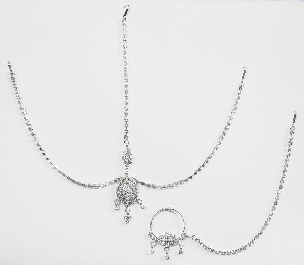 White stone studded and silver plated matha patti with maang tikka hover to zoom nvjuhfo Choice Image