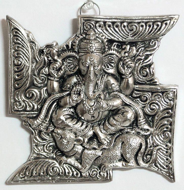 ganesha on swastika  auspicious hindu symbol