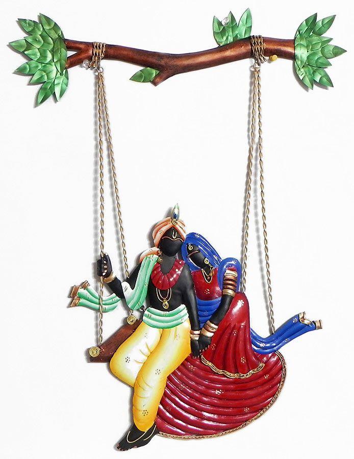 Radha Krishna On A Swing Wall Hanging