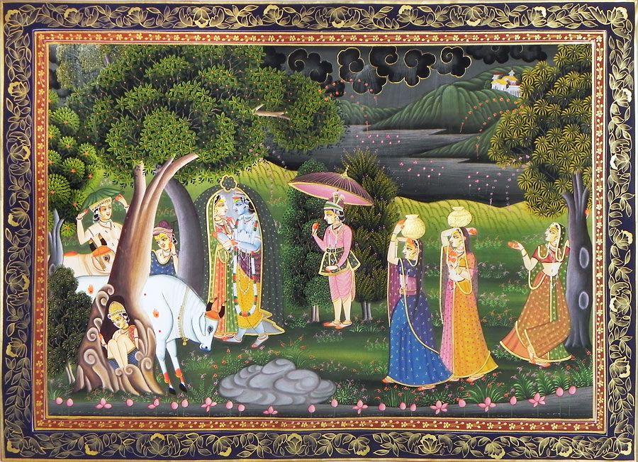 Radha Krishna with Gopis and Gopinis
