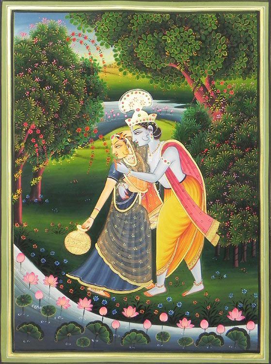 Krishna Embraces Radha