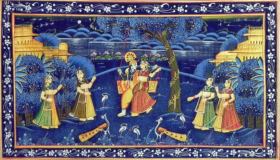Radha Krishna on a Swing Enjoying a Moonlit Night