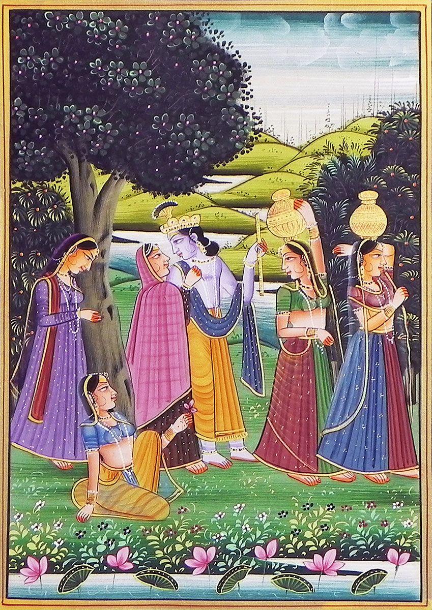 Radha Krishna in Vrindavan (Miniature Painting on Silk) 12 ...