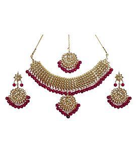 DollsofIndia Faux Gemstones and Kundan Adjustable Necklace Set GH77