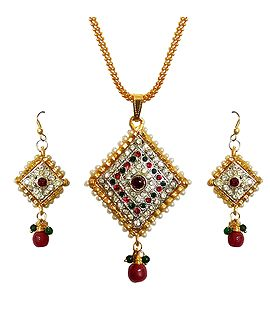Pendant DollsofIndia Gold Plated Pendant Set 1.25 inches 2 inches Earrings GE41