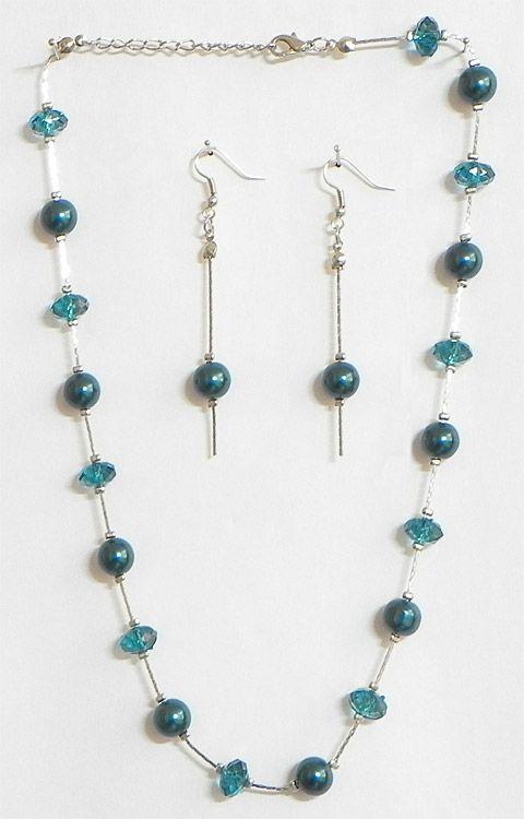 cyan bead necklace set