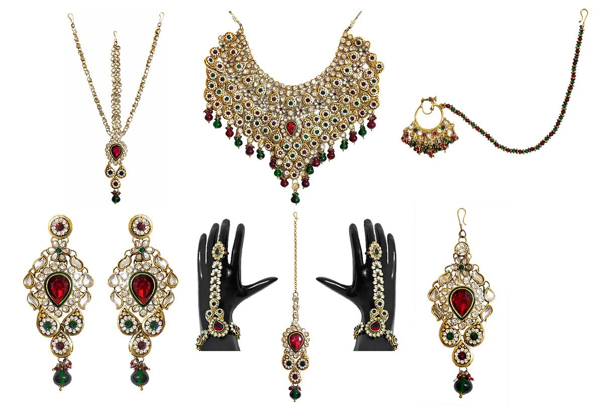Faux gemstones and kundan necklace set faux gemstones and kundan necklace set with shringar patti jhumar mang tika ring bracelet and nose ring nvjuhfo Choice Image