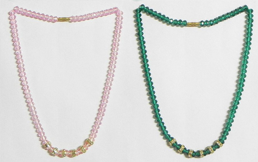 Pink and Green Crystal Bead Necklace