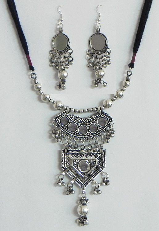 Adjustable Oxidised White Metal Necklace Earrings