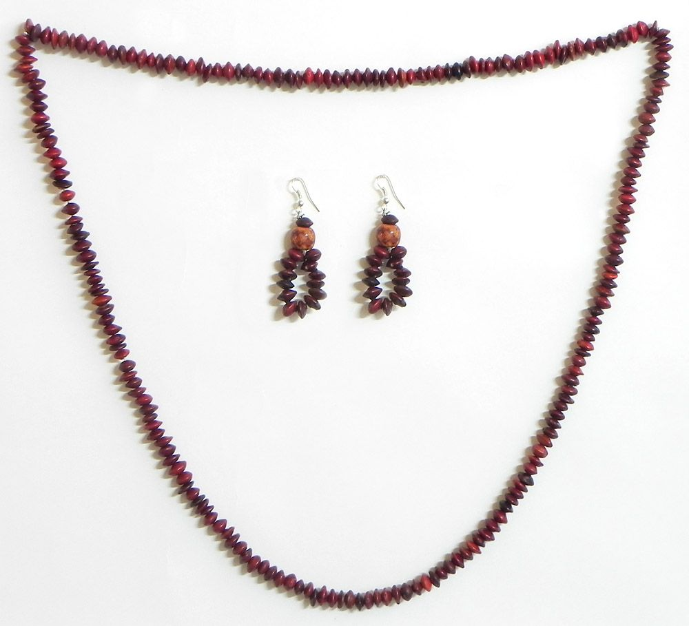 Wooden beads and natural seed necklace set for Natural seeds for jewelry making