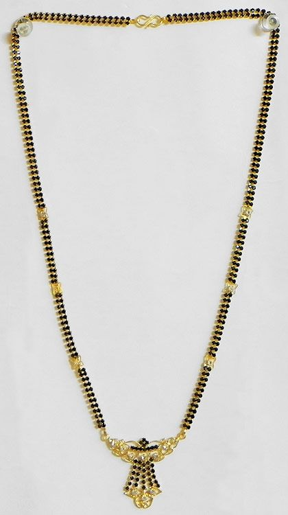 bb6609a6e Gold Plated and Black Stone Studded Mangalsutra with Pendant (Currently  out-of-stock)