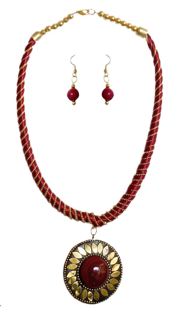 Maroon threaded tibetan necklace and earrings hover to zoom aloadofball Images