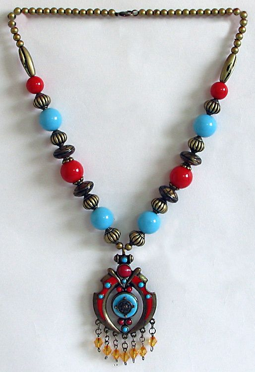 Tibetan Necklace With Buddhist Symbol Pendant