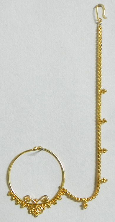 Gold Plated Nose Ring with Chain