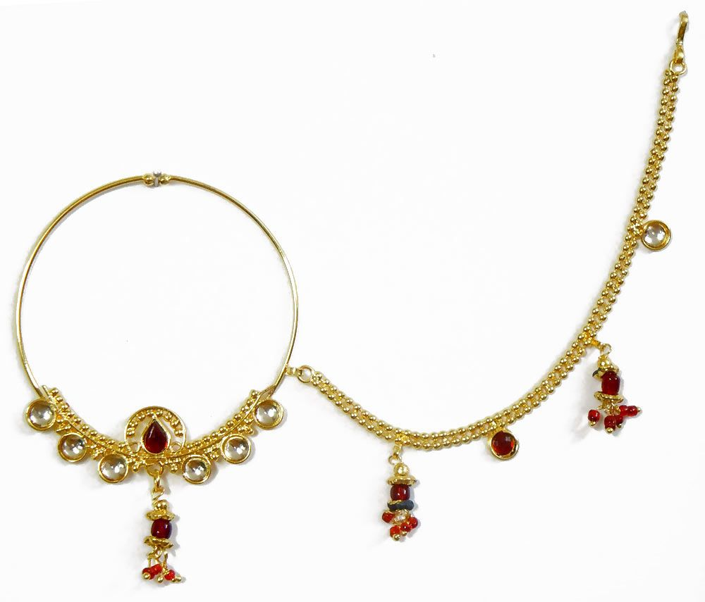 Gold plated non piercing kundan nose ring with chain nvjuhfo Choice Image