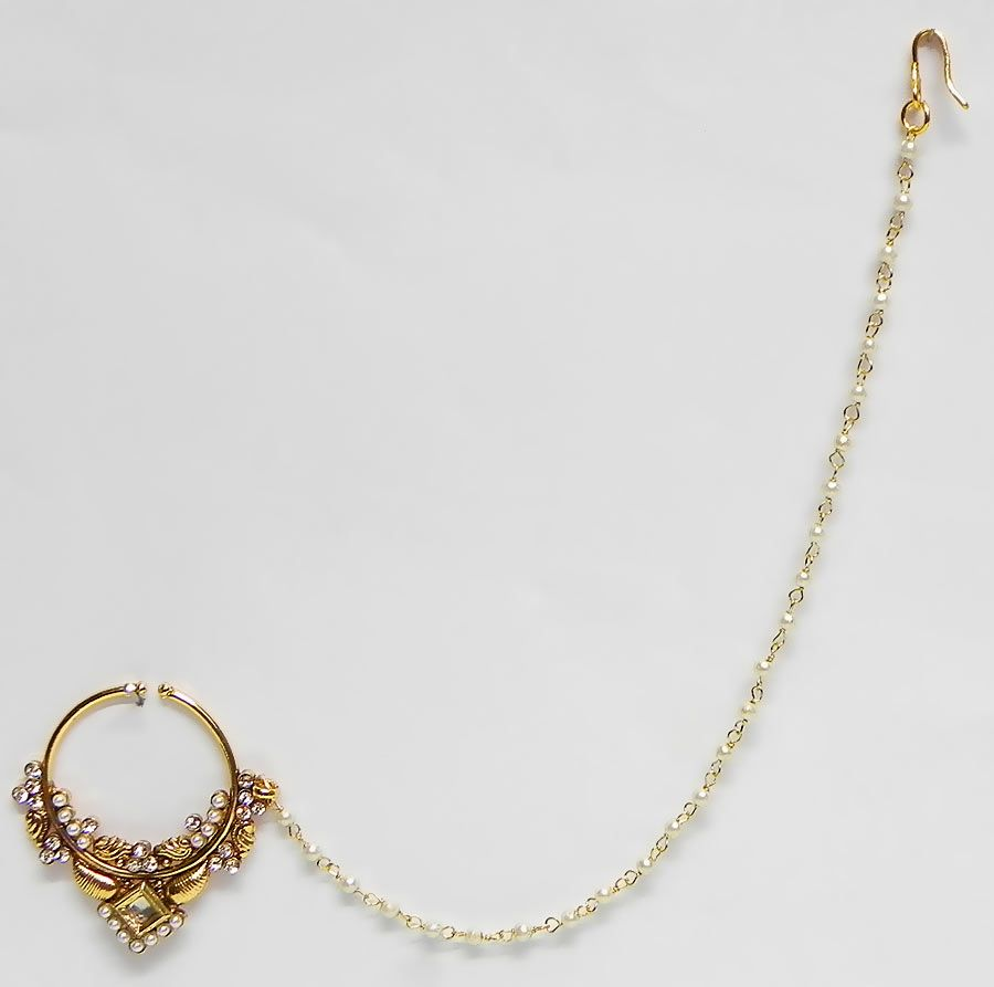Golden non piercing nose ring with white beaded chain nvjuhfo Choice Image