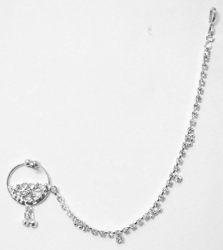 White stone studded non piercing silver plated nose ring with chain hover to zoom nvjuhfo Choice Image