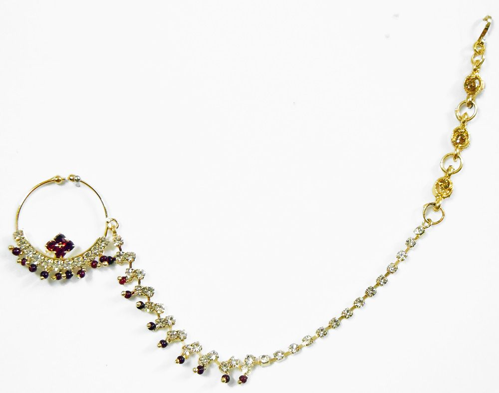 White with maroon stone studded non piercing gold plated nose ring hover to zoom nvjuhfo Choice Image