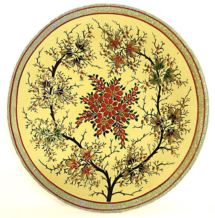 Decorative Painted Papier Mache Plate from Kashmir - Wall Hanging