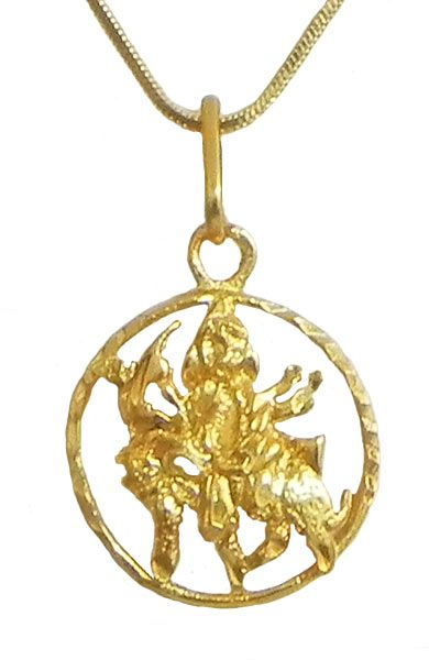 Gold plated durga pendant gold plated durga pendant click to expand mozeypictures Image collections