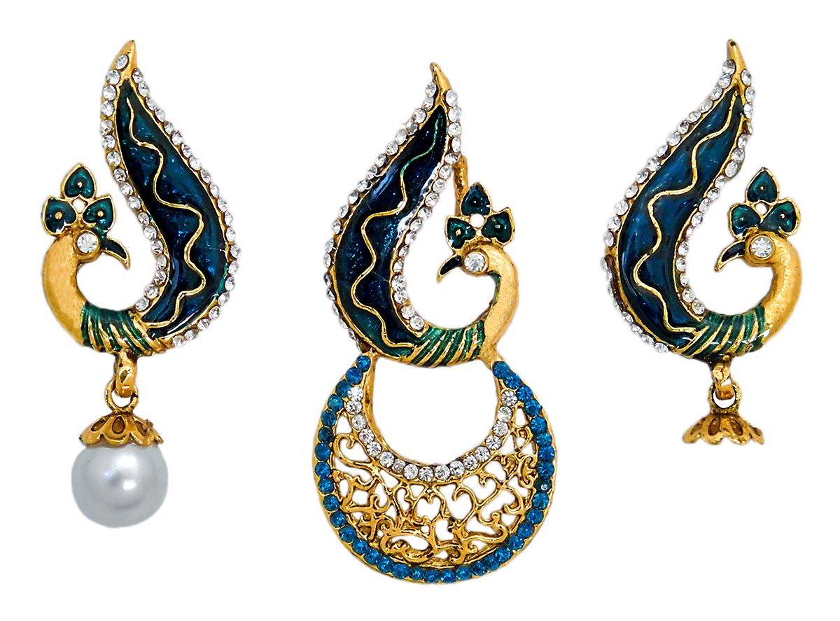 17 inches DollsofIndia Peacock Pendant and Earrings LS37 Chain