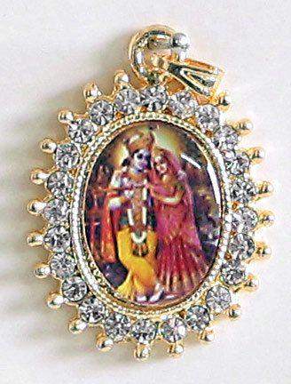 White stone studded radha krishna pendant white stone studded radha krishna pendant click to expand aloadofball Gallery