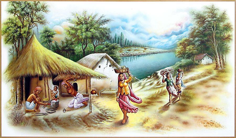 a village scene in the morning The village-urchins were seen bathing and splashing water on one another here and there in the standing water of the pools buffaloes were seen wallowing in the mud i stayed in the village for ten days and then came back full of the memories of the country life.