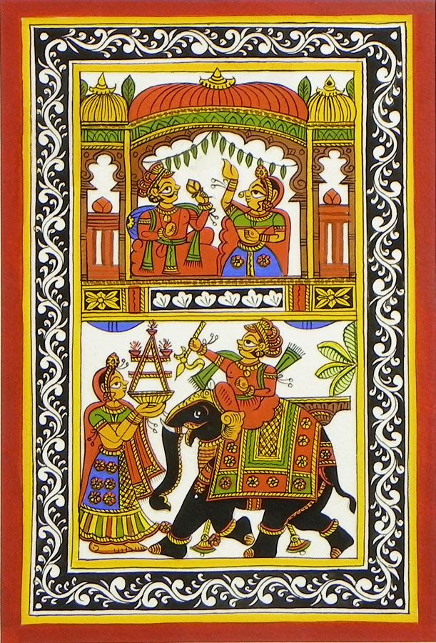 Royal Scenes from Rajasthan - Phad Painting on Cloth - 9 x 6 inches