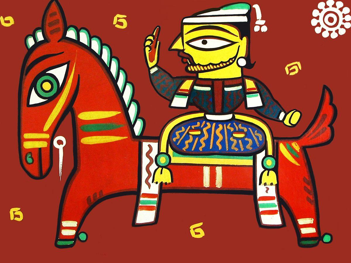 King On Horse Photo Print Of Jamini Roy Painting