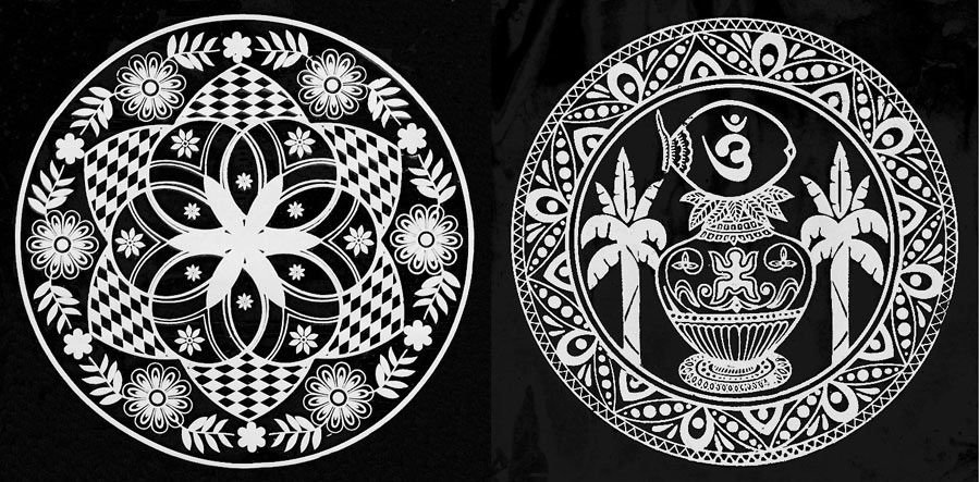 set of two white ritual print on transparent sheet On floor alpana