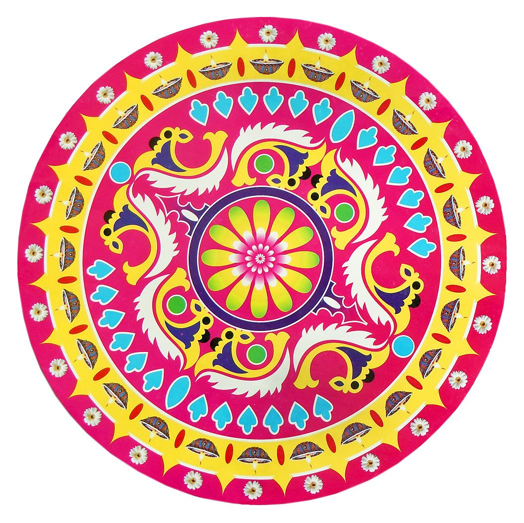 Rangoli Paper Sticker with Colorful Print - Dia - 14 inches
