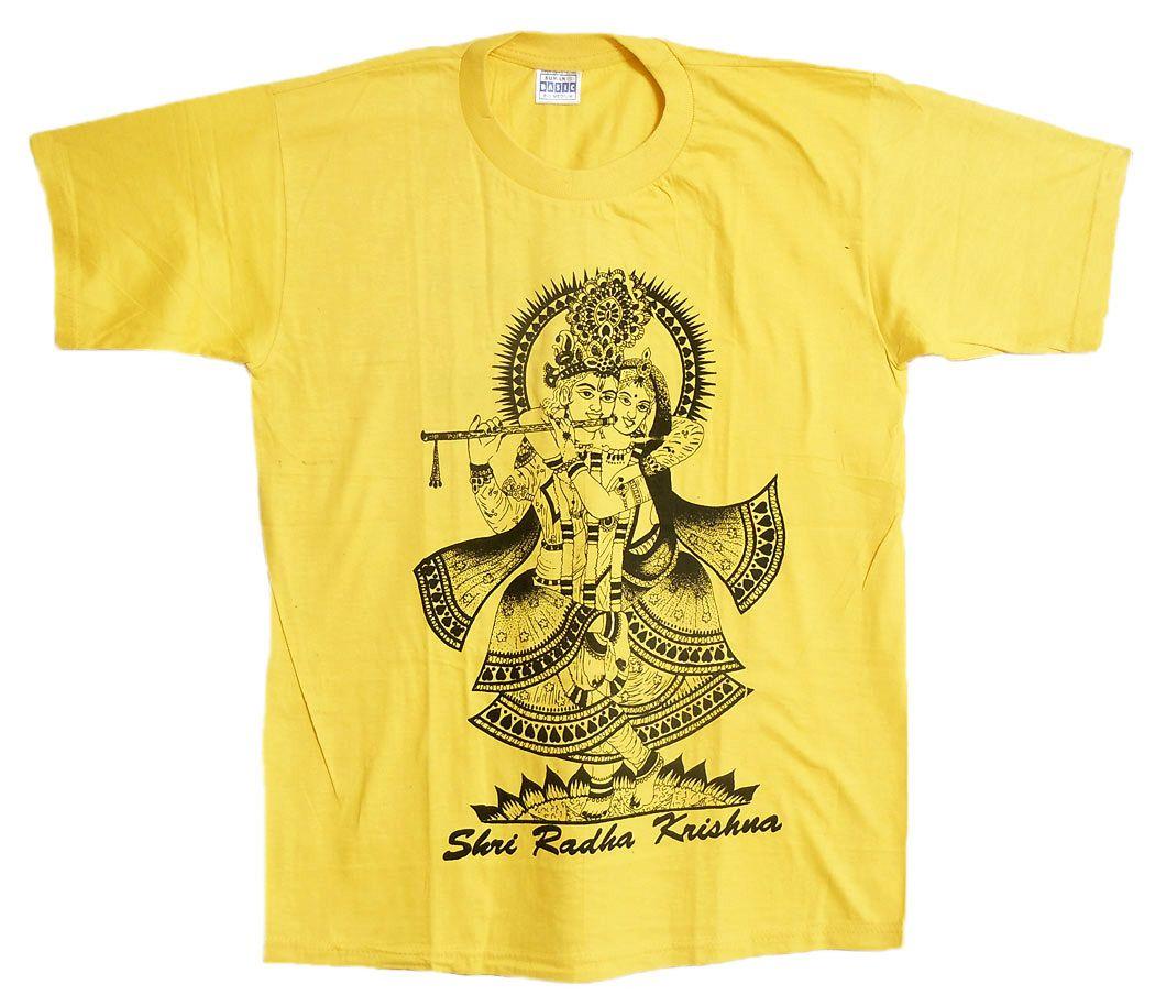 Radha Krishna Print on Yellow Cotton T-Shirt - Size - S
