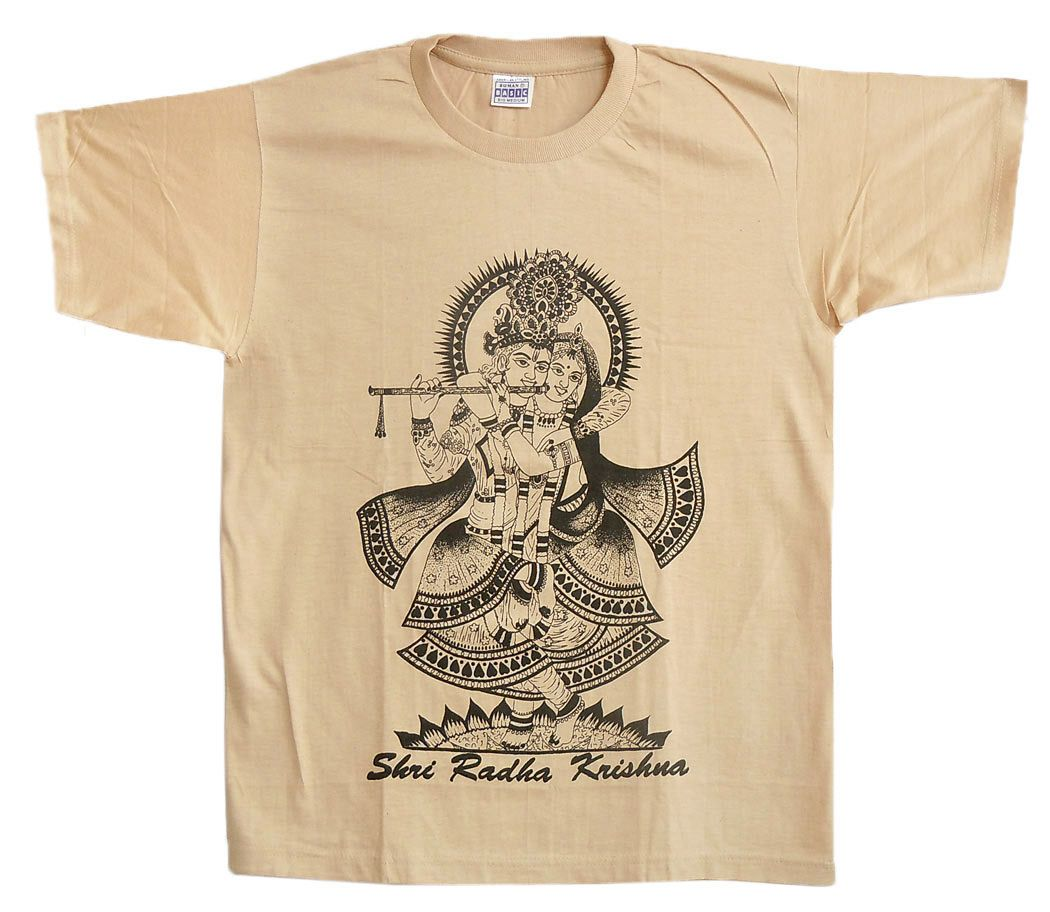 c9c330c8 Radha Krishna Print on Beige Cotton T-Shirt - Size - M