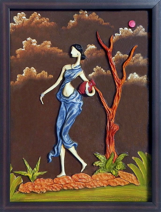 Indian Village Woman Carrying Water Pot Wall Hanging