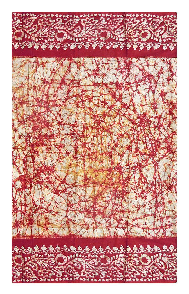 Red Batik Print on White Saree