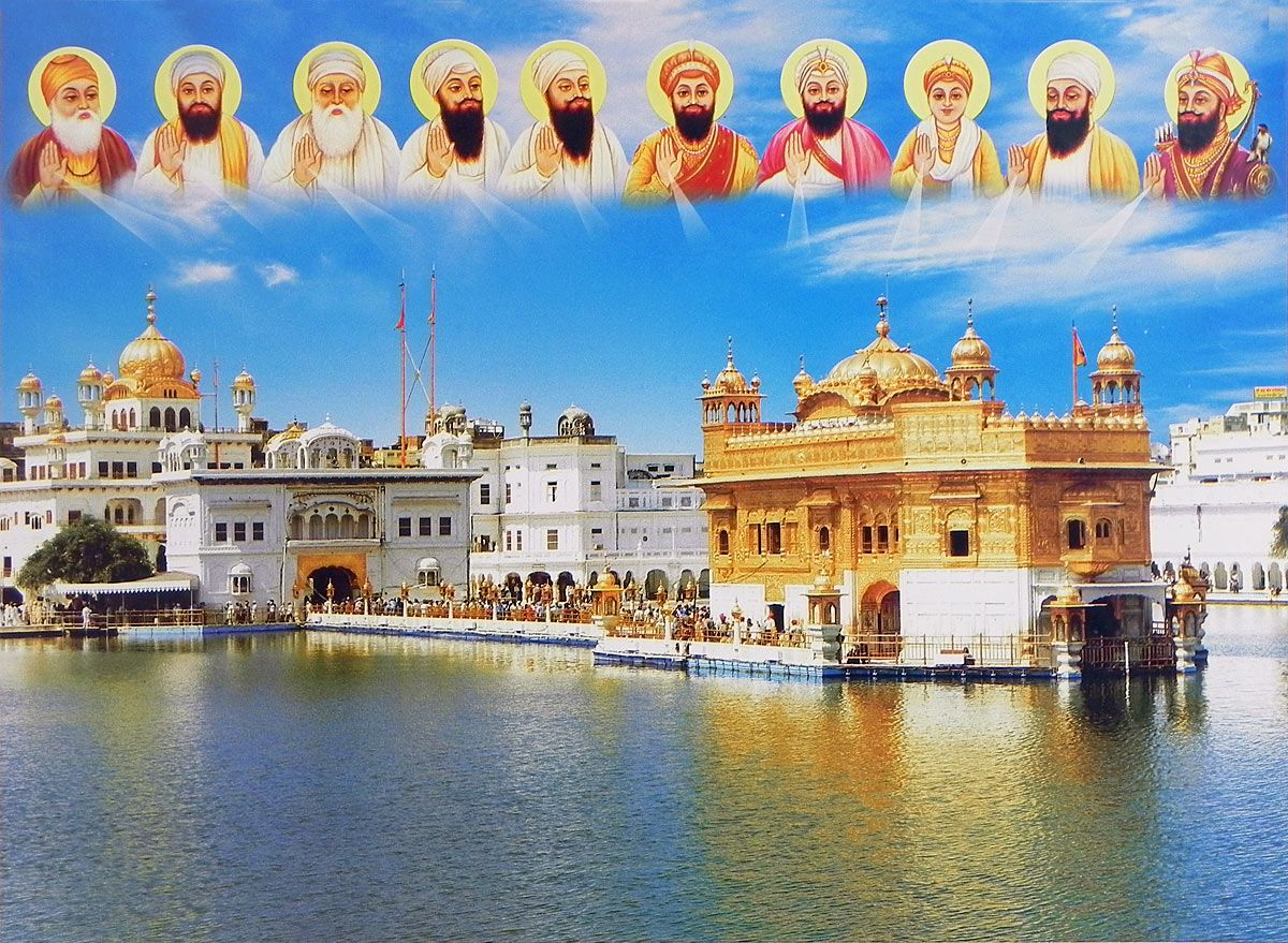 Golden Temple Of Amritsar With Ten Gurus 14 X 19 Inches