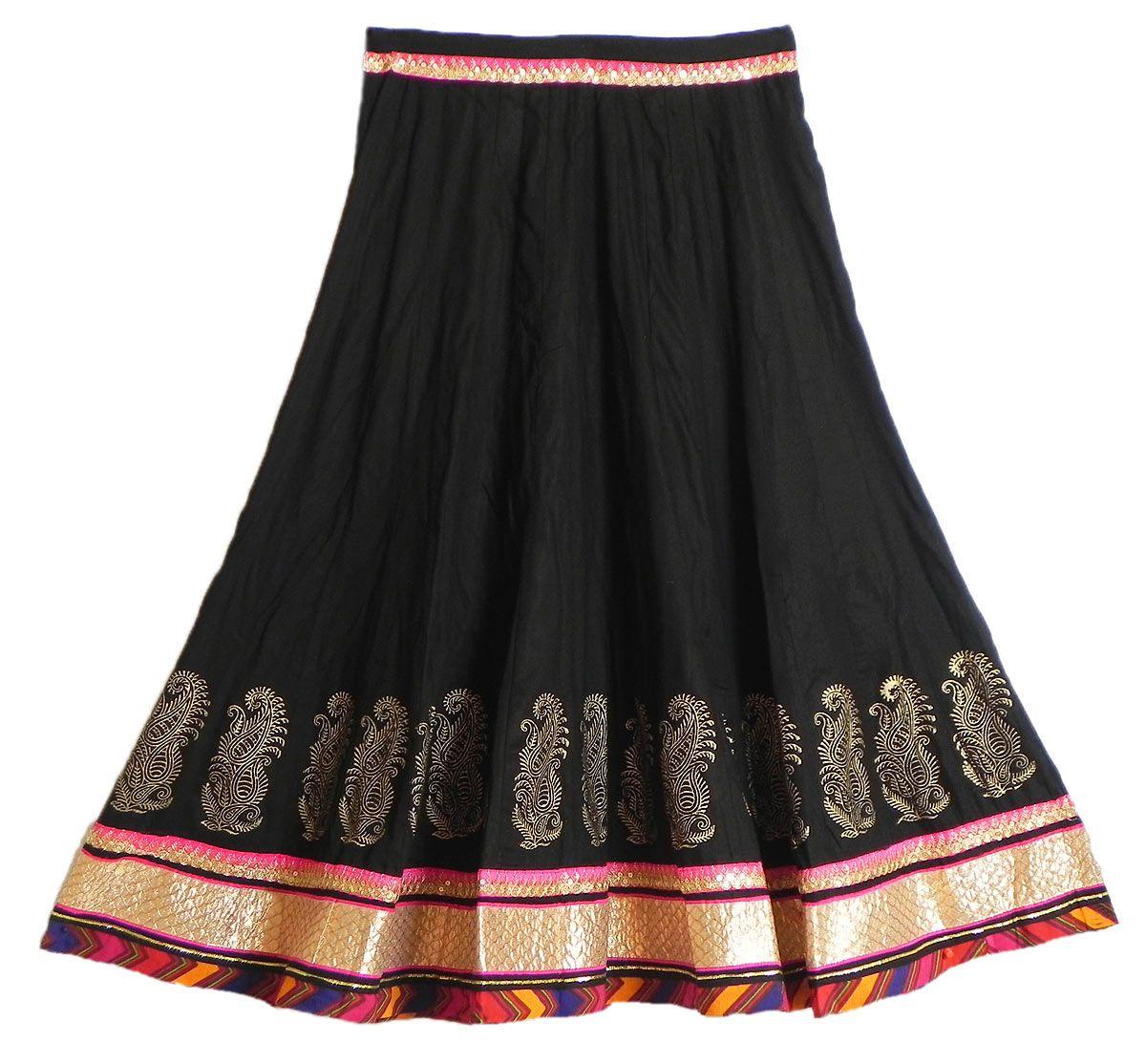 Long Black Cotton Skirt 73