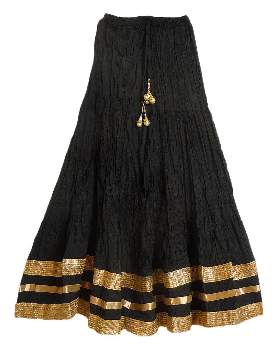Long Black Cotton Skirt 63