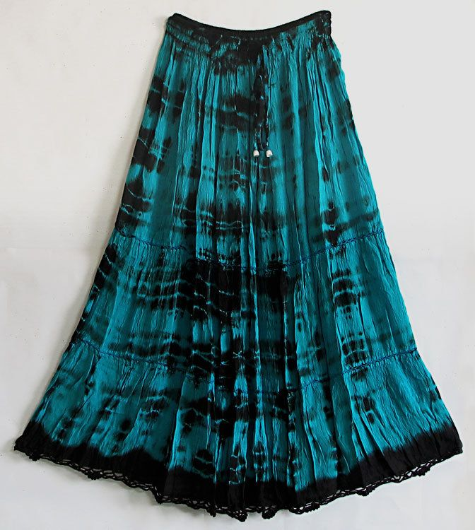 a40a42d303 Cyan and Black Tie and Dye Skirt (Currently out-of-stock)