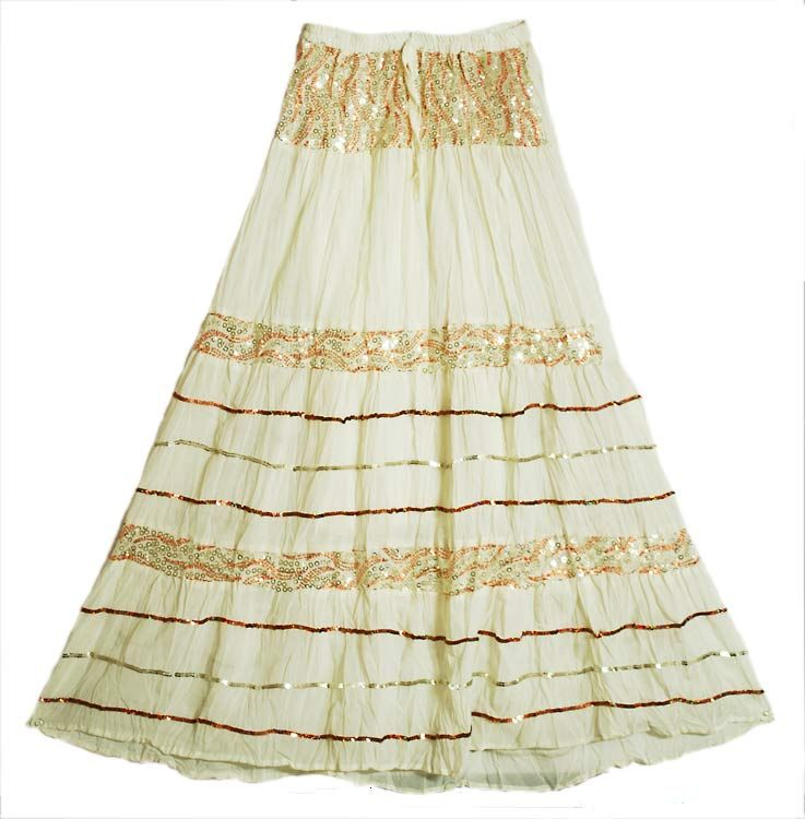 Off-White Long Skirt with Sequin Work