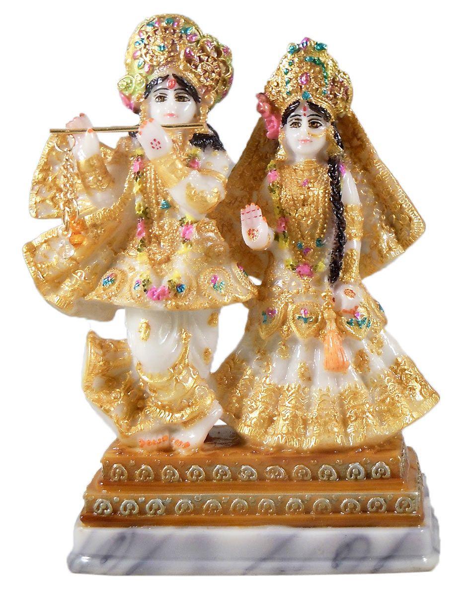 Radha Krishna Marble Dust Statue 6 5 X 4 5 X 3 Inches
